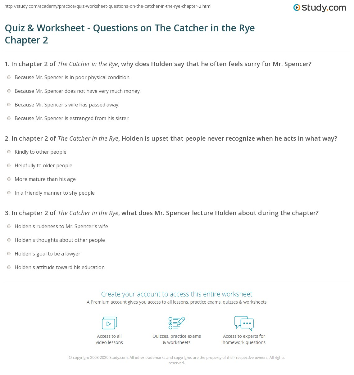 catcher in the rye study guide answers quizlet