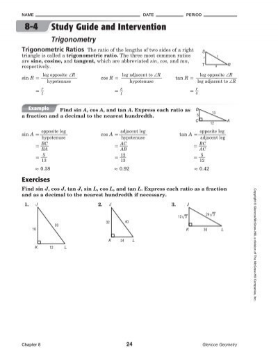 8 4 study guide and intervention trigonometry answer key