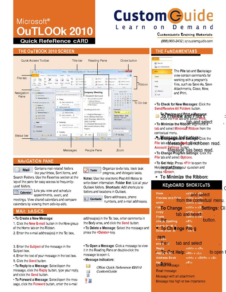 outlook web app quick reference guide